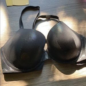 Padded metallic black bra